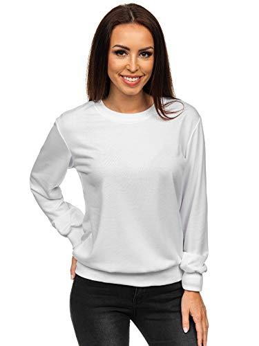 BOLF Damen Sweatshirt Pullover ohne Kapuze Basic Langarmshirt Top Baumwollmischung Pulli Rundhals-Ausschnitt Sweater Farbvarianten Sportlich Fitness J.Style W01 Weiß XXL [A1A]