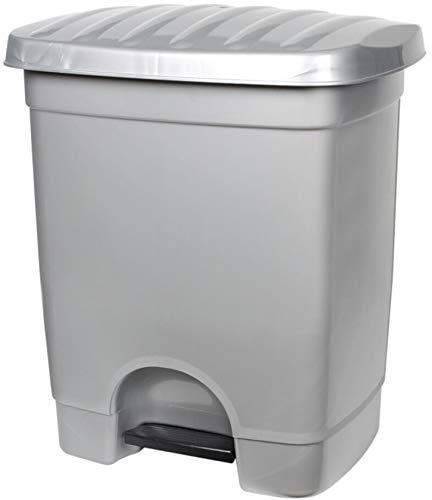 TIENDA EURASIA® Cubo de Basura con Pedal para Cocina - 35L - Material de Plastico Reciclado Ecológico - Medidas: 40X33X47 cm (Gris)