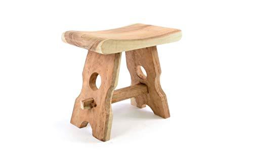 Divero HM50106 Hocker Sitzhocker Holzhocker Badhocker Duschhocker Schemel – Suar Holz massiv Reine Handarbeit eckig-braun
