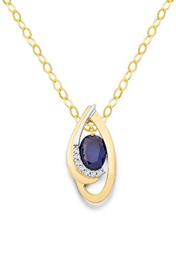 Miore Kette - Halskette Damen Bicolor Gelbgold / Weißgold 18 Karat / 750 Gold Kette Blauer Saphir mit Diamant Brillianten 45 cm