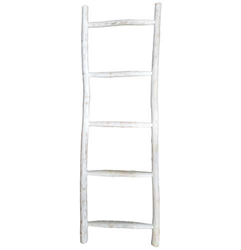 LioLiving®, Teak Handtuchhalter 150 x 49 x 5 cm (L x B x T) Dekoleiter Kleiderständer Handtuchleiter Garderobe white-washed (#400188)