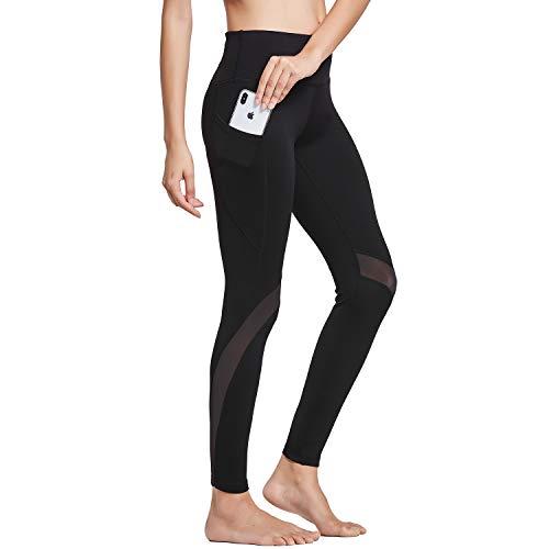 BALEAF Women's High Waist Yoga Pants Mesh Gym Leggings Side Hidden Pocket Black M