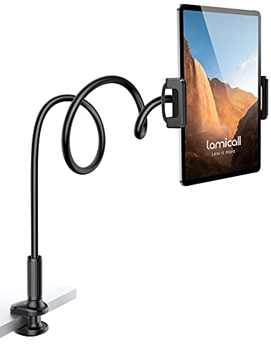 """Gooseneck Tablet Mount Holder for Bed - Lamicall Flexible Tablet Arm Clamp, Bed Stand for 4.7-11"""" Devices, Such as iPad Mini 7.9, Air 9.7, Pro 10.5/11, Switch, Galaxy Tabs - Black"""
