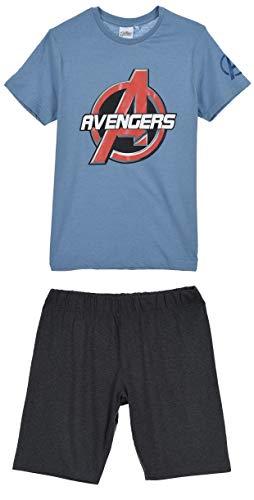 Avengers Herren Lang Pyjama Schlafanzug,L,Blau