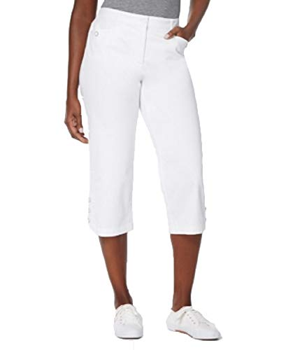 Karen Scott Button-Cuff Capri Pants (Bright White, 10)