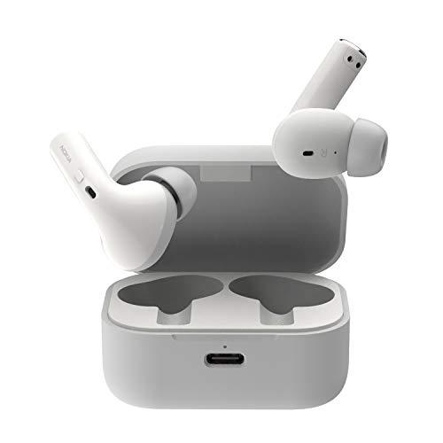 Nokia Essential True Wireless - Auriculares y Estuche portátil de Carga (IPX5 de Resistencia al Agua, reducción del Ruido, micrófono Dual y Modo Ambiente) Blanco