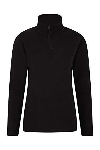 Mountain Warehouse Camber Damen-Fleece mit halbem Reißverschluss - atmungsaktiv, leicht, warm, fusselfrei, mit hoher Feuchtigkeitsregulierung - für den Winter Schwarz Large