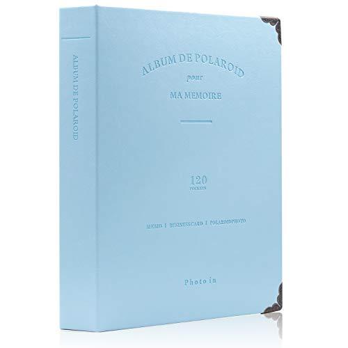 Amimy 120 Poches Photo Album pour Fujifilm Instax Mini 7s 8 8+ 9 25 50 70 90, Polaroid PIC-Snap 300, Sprocket HP, Kodak Mini 3 Pouces Film (Bleu)