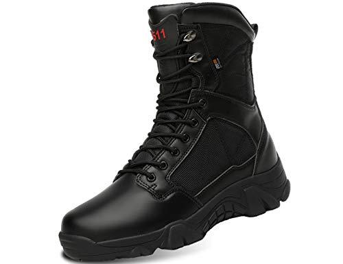 IYVW 5.AA Hombres Ejército Militar Táctico Deportes al Aire Libre Camping Senderismo Trabajo de Combate Cordones TranspirableCremallera Lateral Desierto Zapatos de Cuero Botas