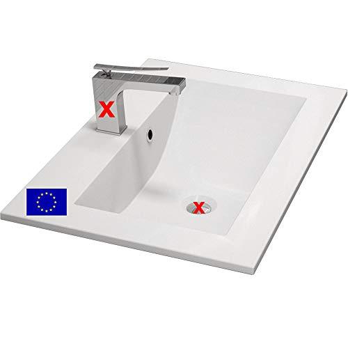 Einbau-Waschbecken 60x45x15cm eckig | 60cm Einbau-Waschtisch zum einlassen in eine Platte | Material: hochwertiges Mineralguss | Qualität MADE IN EU