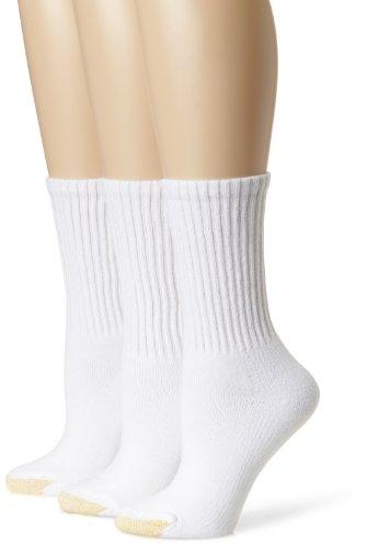 Gold Toe Women's Ultratec Crew Socks, 3 Pairs, White, Shoe Size: 6-9
