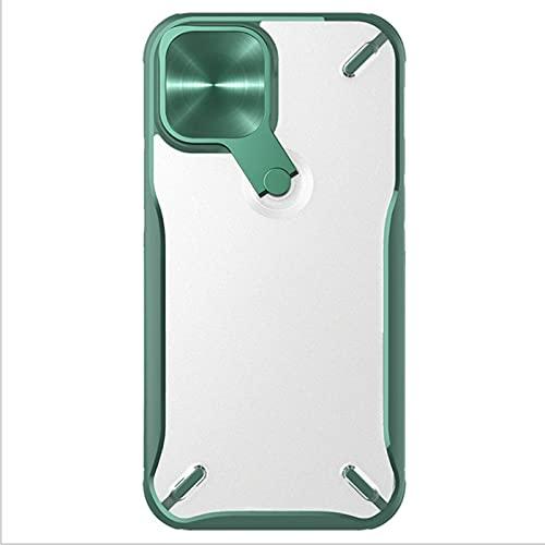 KCGNBQING Funda de teléfono a prueba de golpes para iPhone 12 Pro Max con soporte giratorio [tapa de lente], protector de TPU, elegante funda protectora para iPhone 12 Pro Max, color verde