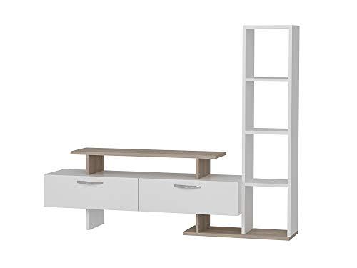 Minel 1759 - Mueble bajo para TV, Mueble para salón, Color Blanco Cordoba, Madera, 4 estantes, Puertas con asa, Gran Espacio de Almacenamiento, 148,6 x 25 x 121,8 cm