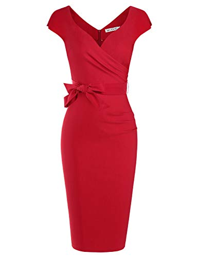 MUXXN Ladies Classic Cap Sleeve Ruched Waist Pencil Work Office Dress (Red S)
