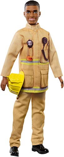 Barbie FXP05 Ken Firefighter Doll in Career-Themed Outfit, Multi-Colour