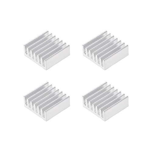 DyniLao 6x14x14mm Silver Tone Aluminum Heatsink Thermal Adhesive Pad Cooler for 3D Printers Cooling 4pcs