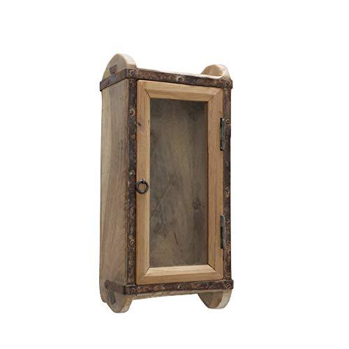 Schlüsselkasten RYGGE Recyceltes Holz braun Glasscheibe Vintage 32x20cm Shabby Chic Landhaus Ziegelform Used Look Nostalgie Schlüsselhaken Schlüsselbox Schlüsselbrett Schlüsselboard Schlüsselschrank