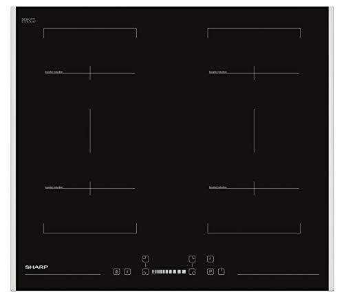 Sharp KH-6I38FS00-EU Induktionskochfeld (autark) / 60 cm/SliderTouch/PowerBoost / 4 Kochzonen inkl. CookBridge / 9 Leistungsstufen/Restwärmeanzeige/Seitlicher Edelstahlrahmen/Schwarz