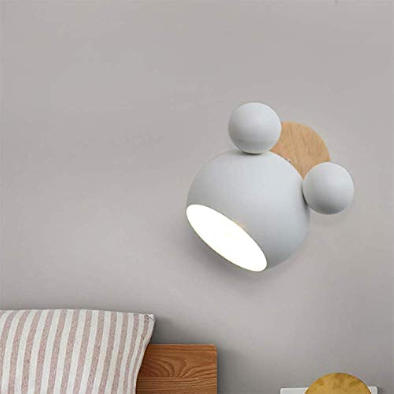 SSLW Wandlampe Kreatives Nordic Modern Minimalist Cartoon Bedroom Kinderlicht,Weiß