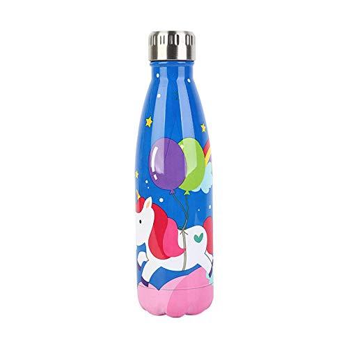 500ML Cooling Cola Acero inoxidable Unicornio Impresión Deportes Bicicleta Ciclismo Senderismo Beber Botella de agua portátil para niños adultos