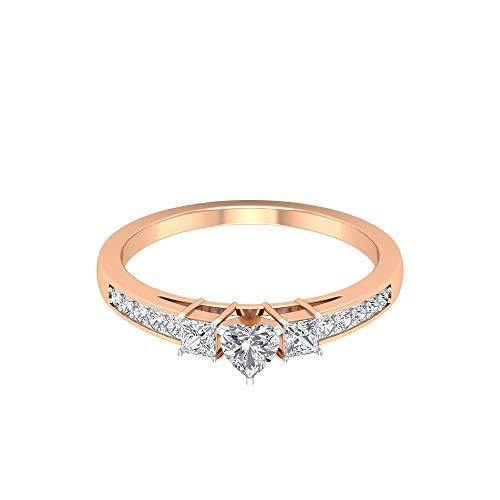 0,65 Karat Herzform Diamant Solitär Ring, einzigartige Hochzeit Jahrestag Ring, SGL Certified Princess Schliff Diamant-Sidestein Ring, Statement Damen Ring, 14K Roségold, Size:EU 45