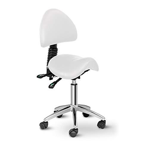 Physa Sattelstuhl mit Rollen ergonomischer Rollstuhl mit Rückenlehne Drehstuhl Arbeitsstuhl Berlin White (weiß, höhenverstellbar, 360°-drehbar)