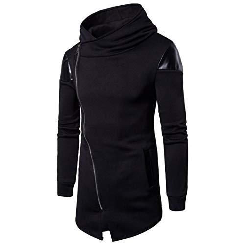 Men's Hoodies, FORUU Long Sleeve Patchwork Hooded Sweatshirt Top Tee Outwear Blouse Black