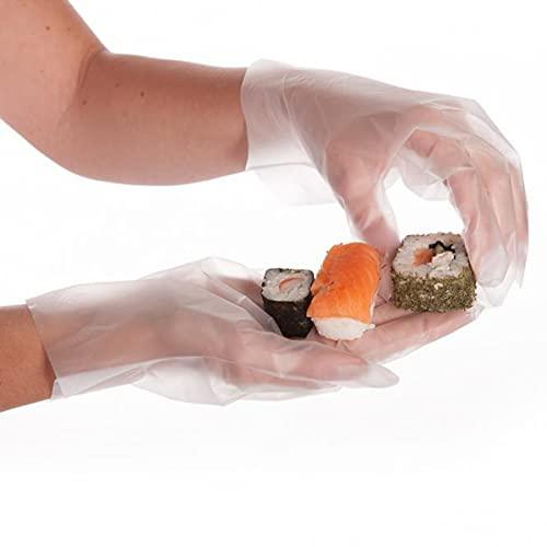 Folienhandschuhe, Einweg-Friseurhandschuhe, Einmalhandschuhe, Handschuhe, 25-27 cm, weiß, blau, schwarz, 10 x 200 Stück, Farbe:transparent, Größe:M