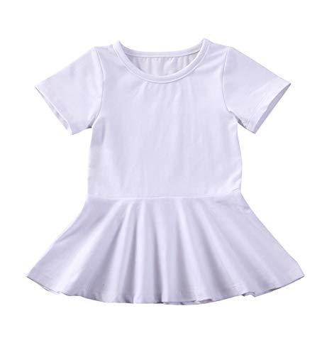 doublebabyjoy Summer Clothes Short Sleeve One-Piece Dress Ruffle Hem Short Skirt Solid Princess Dresses (White, 0-6 Months)