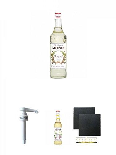 Monin Rohrzucker pur Sirup 0,7 Liter + Monin Dosier Pumpe für 0,7 & 1,0 Literflasche + Monin Holunderblüte Sirup 0,7 Liter + Schiefer Glasuntersetzer eckig ca. 9,5 cm Ø 2 Stück