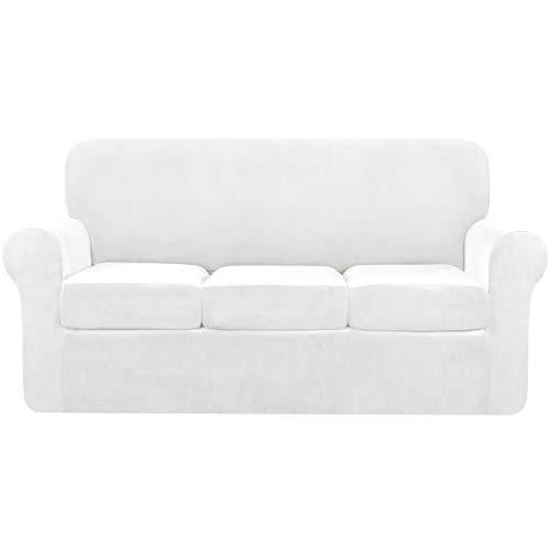 Subrtex - Copridivano a 3 posti in velluto elasticizzato con cuscino separato, morbido copridivano con cinghie antiscivolo per proteggere mobili in peluche (divano, bianco)