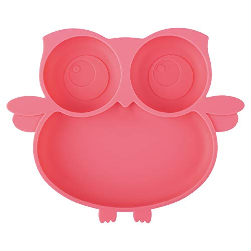 Kirecoo Owl Suction Silicone Plate for Toddlers - Self Feeding Training Storage Divided Bowl and Dishes for Baby and Kids, Fits for Most Hairchairs Trays, Microwave Dishwasher Safe (Pink)