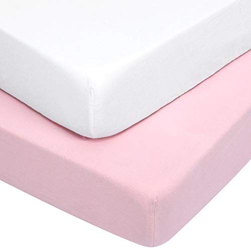 """TILLYOU Flannel Cotton Fitted Crib Sheets for Baby Boys Girls, Thermal Warm and Plush Toddler Bed Sheets for All Seasons, Deep Pocket Fits Up to 8"""" Mattress 28x52, Set of 2, Light Pink & White"""
