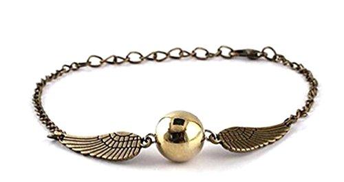 Fashion Jewerly Collana Golden Snitch BOCCINO d'oro con Perla Dorata E Ali E Catenina Argentata