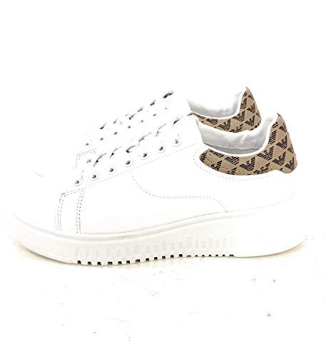 Emporio Armani Damen Flat Sneaker with Back Logo Turnschuh, Weiß/Mehrfarbig, 39 EU