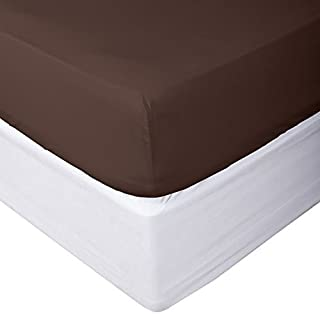 100% Egyptian Cotton Fitted Sheet 800 Thread Count Solid 1 Piece (Bottom Sheet Only) California King Size Sateen Weave 8 inch Deep Pocket Chocolate Color