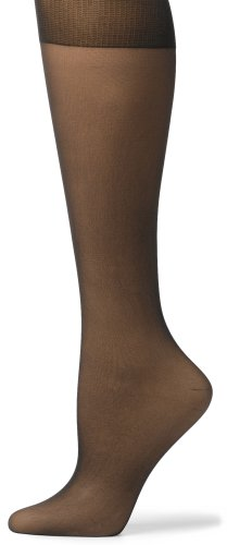 No Nonsense Women's Knee High Pantyhose with Sheer Toe, 10 Pair Value Pack, Off Black, One Size