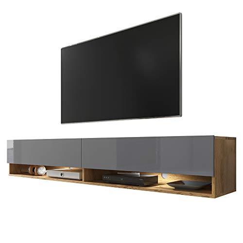 Selsey TV-Lowboard, Eiche Wotan/Grau glänzend, Avec LED