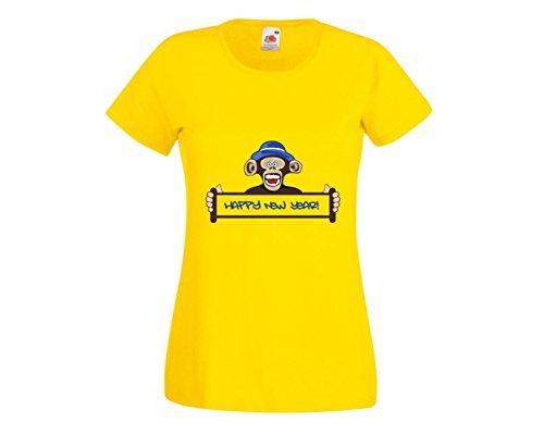 Camiseta de Affe, divertido mono, Año Nuevo, animales, vacaciones, símbolo, Prima, fiesta, chimpancé de diseño, diversión facial, para hombre, mujer, niños, 104 – 5 XL amarillo Talla del hombre: XXX-Large