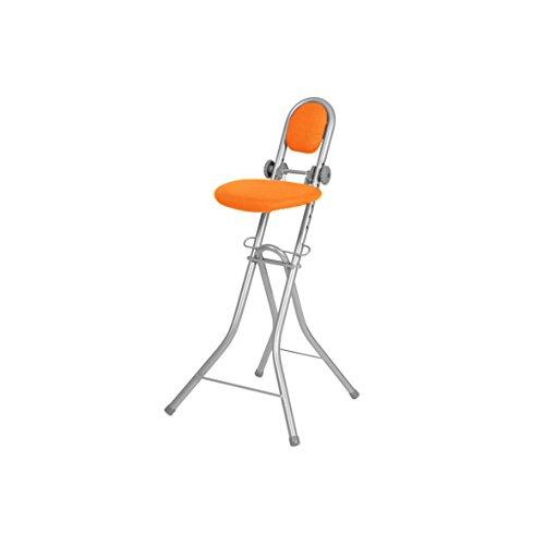 Ribelli Bügelstehhilfe Stehhilfe Stehstuhl 6-Fach höhenverstellbar klappbar Bügelstuhl Stehsitz ergonomisches Sitzen - Stehsitz zum Bügeln mit Rückenlehne (orange)