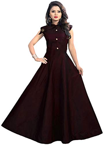 Vaidehi Creation Women's Anarkali Maxi Gown (_Brown_Free Size)
