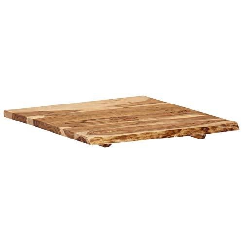 Tidyard Tischplatte Baumkante Massivholzplatte Akazie,Küchentischplatte Akazien-Massivholz Holzplatte Arbeitsplatte Massivholzplatte 60 x 60 x 2,5 cm für Esszimmertisch Küchentisch