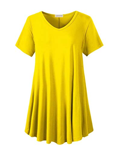 LARACE Tunics Short Sleeve Plus Size Casual Tops for Women V Neck Loose Fit Flowy Clothing for Leggings(Yellow M)
