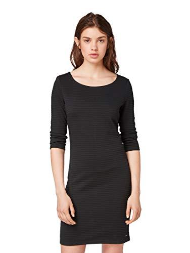 TOM TAILOR DENIM Damen Strukturiertes Kleid, Schwarz (Deep Black 14482), Small