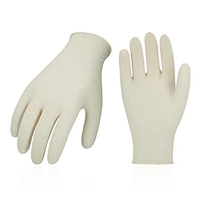 Vgo 200 PCS Disposable Latex Powder-Free General Purpose, Food service Gloves(9/L, White,RB5138)