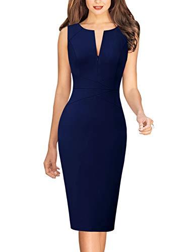Vfshow Womens Dark Blue Summer Elegant Slim Zipper Up Work Business Office Party Bodycon Pencil Sheath Dress 3932 BLU L
