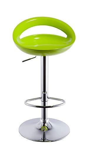 2x Sgabelli da bar in plastica regolabile in altezza con schienale girevole design elegante selezione colore Duhome 147, colore:verde, materiale:plastica