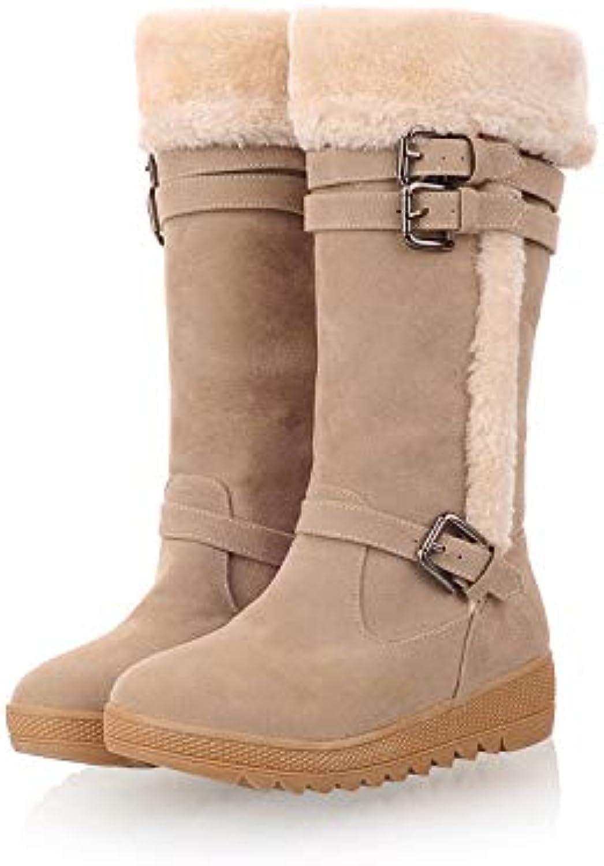 Top Shishang Winter Warm Lined mid-Waist Snow Boots Casual Belt Buckle Artificial Fur Martin Boots