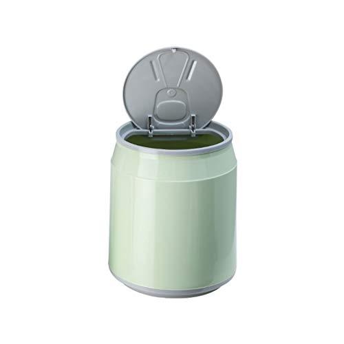 DEF Bote de Basura para Coche de Lata de refresco Bote de Basura para Coche pequeño con Tapa, para Escritorio de Oficina Asiento Delantero del Coche Fila de atrás (Color : Green)