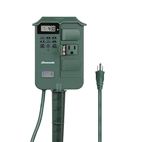 DEWENWILS Outdoor Digital Power Stake Timer Switch, Weatherproof Power Strip, 6 ft Extension Cord with 6 Waterproof Grounded Outlets for Fountain Pool Pump Electrical Outlets, 13A UL Listed
